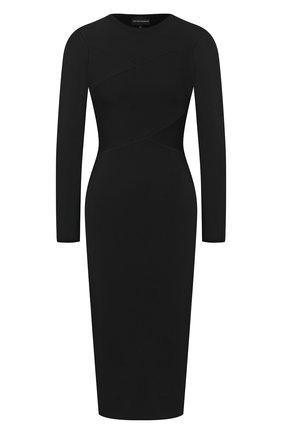 Женское платье из вискозы EMPORIO ARMANI черного цвета, арт. 6H2AW1/2M4BZ | Фото 1