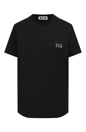 Женская хлопковая футболка MSGM черного цвета, арт. 2945MDM30 207648 | Фото 1