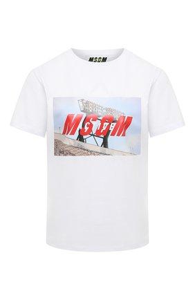 Женская хлопковая футболка MSGM белого цвета, арт. 2945MDM23 207648 | Фото 1
