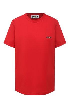 Женская хлопковая футболка MSGM красного цвета, арт. 2945MDM18 207648 | Фото 1