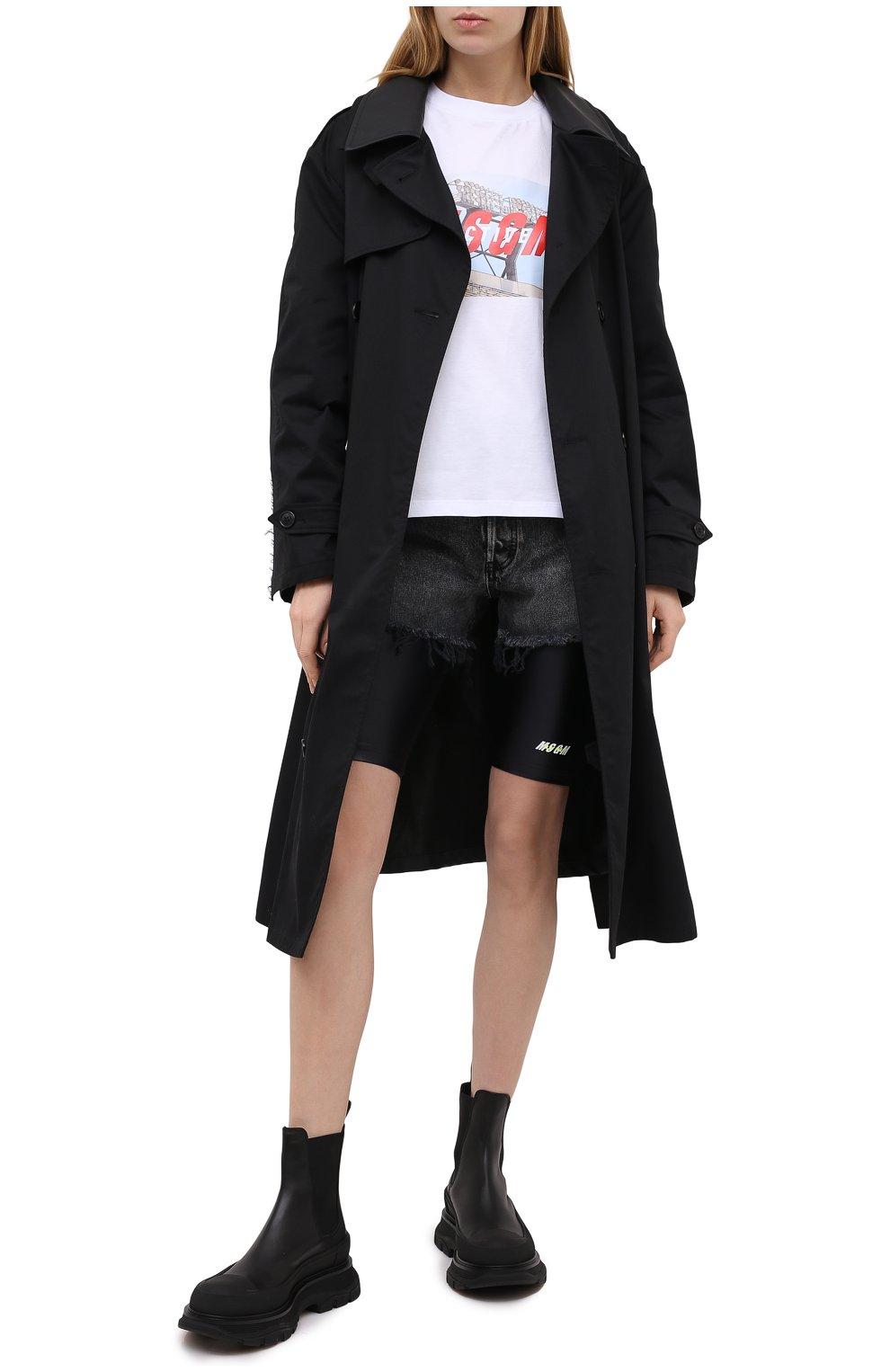 Женские шорты MSGM черного цвета, арт. 2945MDB01 207703   Фото 2 (Длина Ж (юбки, платья, шорты): Мини; Кросс-КТ: Спорт; Материал внешний: Синтетический материал; Женское Кросс-КТ: Шорты-спорт)
