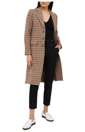 Женские шерстяные брюки MSGM черного цвета, арт. 2942MDP114 207671 | Фото 2