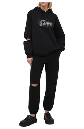 Женская хлопковое худи MSGM черного цвета, арт. 2942MDM281 207999 | Фото 2