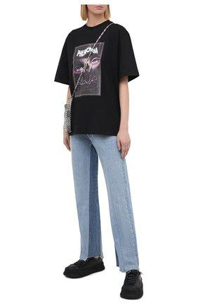 Женская хлопковая футболка MSGM черного цвета, арт. 2942MDM207 207998 | Фото 2