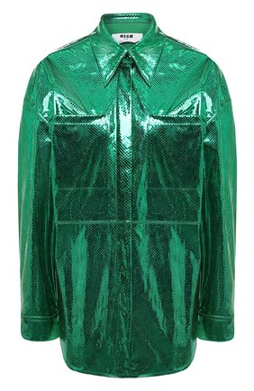 Женская рубашка MSGM зеленого цвета, арт. 2942MDE115 207815 | Фото 1