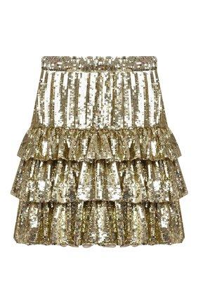 Женская юбка с пайетками MSGM золотого цвета, арт. 2942MDD112 207961 | Фото 1