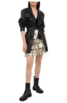 Женская юбка с пайетками MSGM золотого цвета, арт. 2942MDD112 207961 | Фото 2