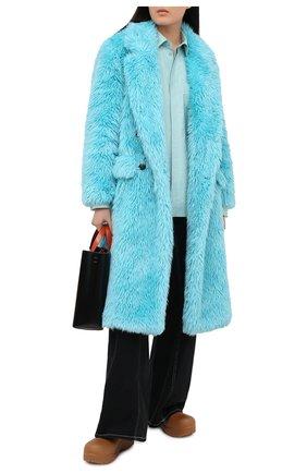 Женская шуба из экомеха MSGM голубого цвета, арт. 2942MDC113 207675 | Фото 2