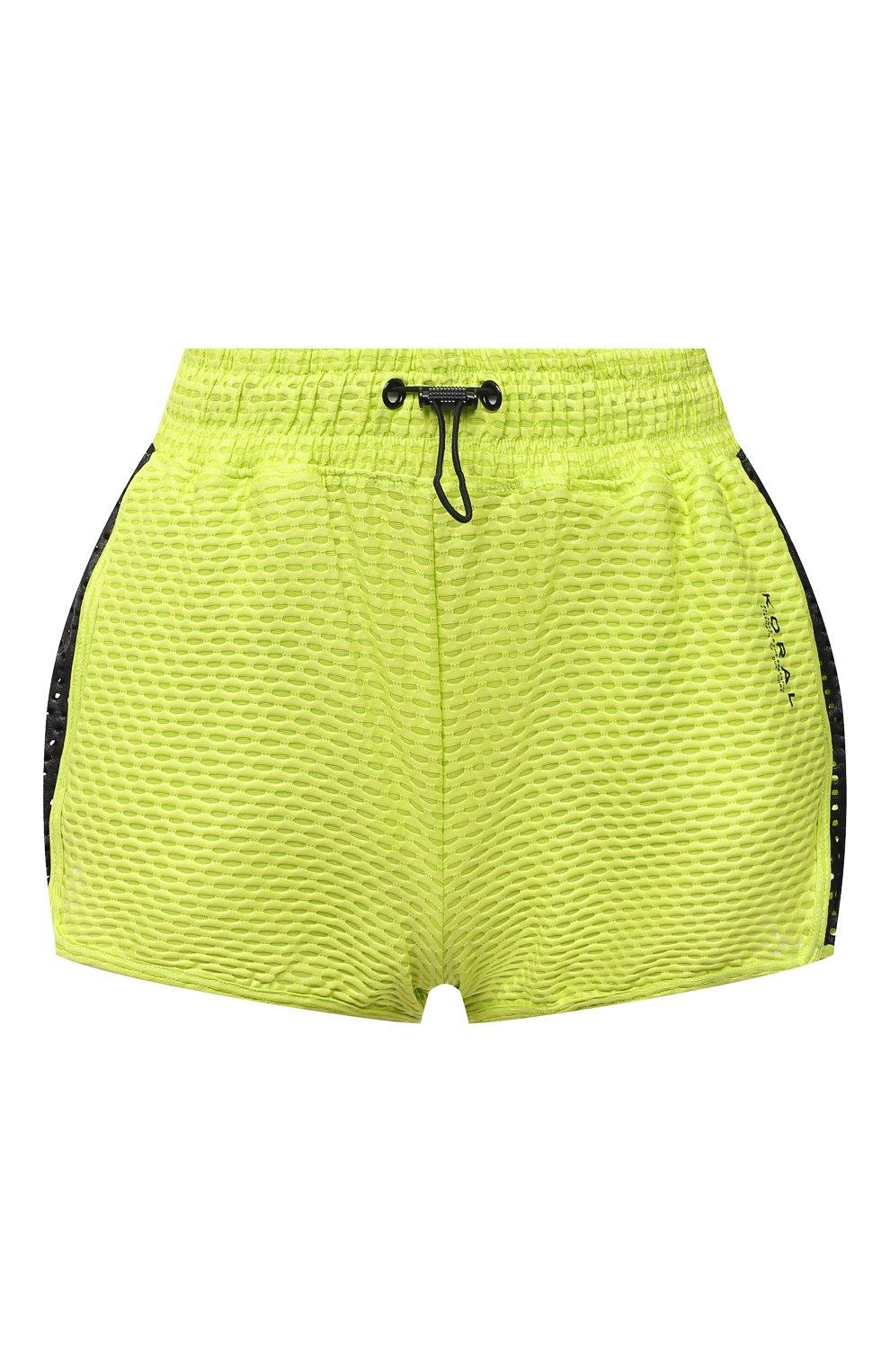 Женские шорты KORAL светло-зеленого цвета, арт. A2526K09 | Фото 1 (Длина Ж (юбки, платья, шорты): Мини; Кросс-КТ: Спорт; Материал внешний: Синтетический материал; Женское Кросс-КТ: Шорты-спорт)