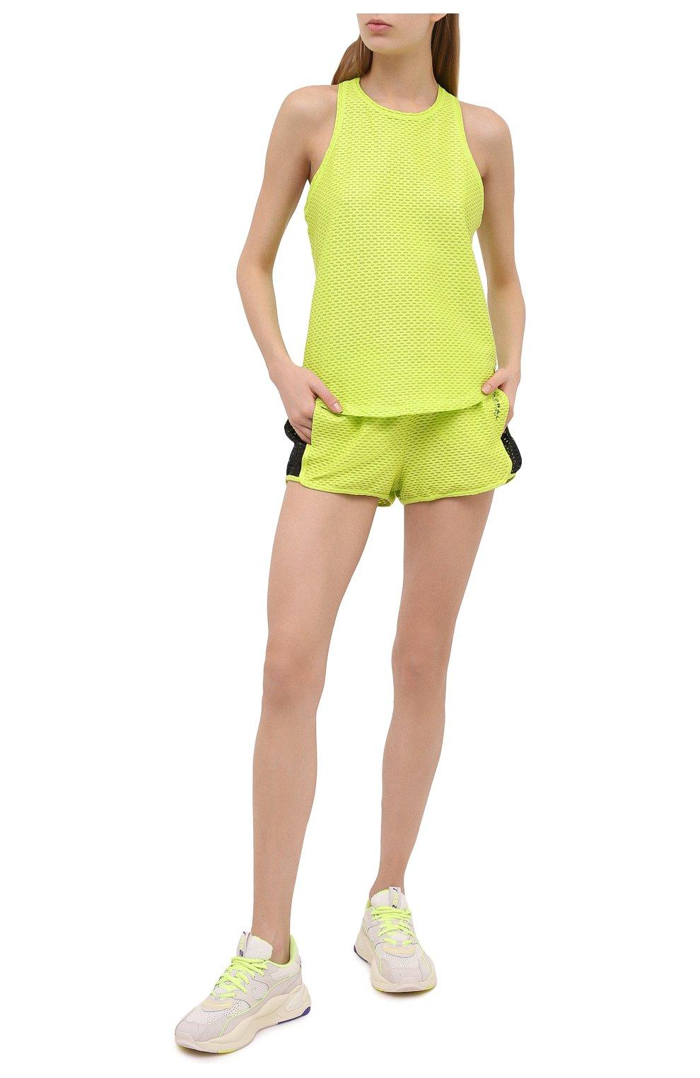 Женские шорты KORAL светло-зеленого цвета, арт. A2526K09 | Фото 2 (Длина Ж (юбки, платья, шорты): Мини; Кросс-КТ: Спорт; Материал внешний: Синтетический материал; Женское Кросс-КТ: Шорты-спорт)