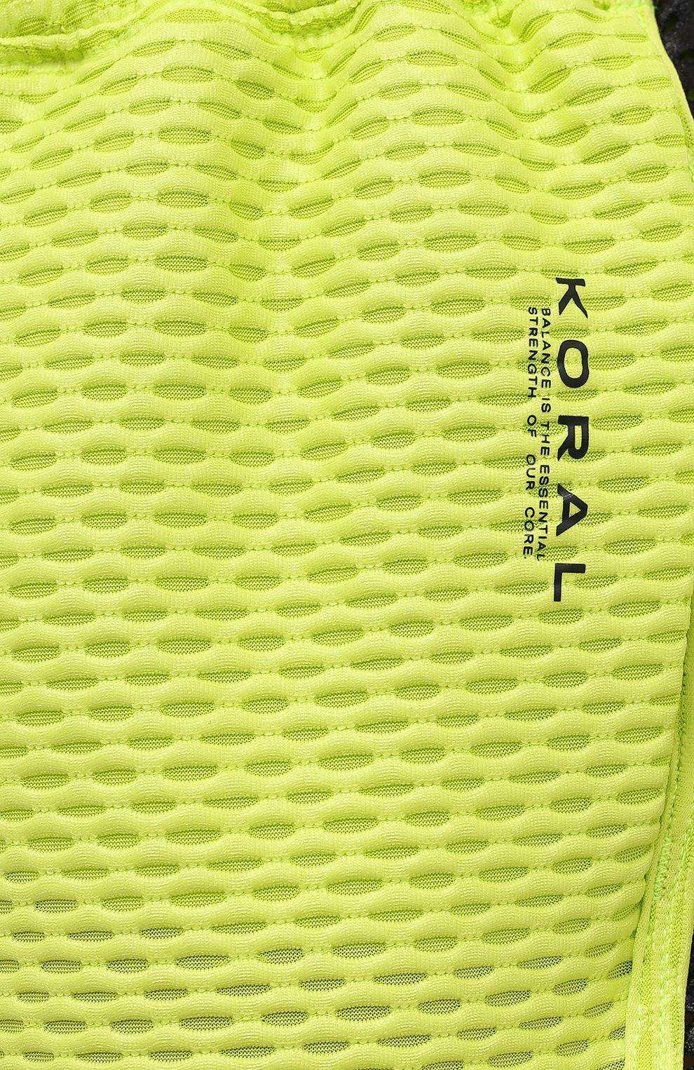 Женские шорты KORAL светло-зеленого цвета, арт. A2526K09 | Фото 5 (Длина Ж (юбки, платья, шорты): Мини; Кросс-КТ: Спорт; Материал внешний: Синтетический материал; Женское Кросс-КТ: Шорты-спорт)