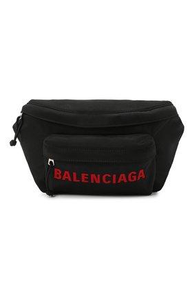 Мужская текстильная поясная сумка wheel BALENCIAGA черного цвета, арт. 533009/H858X | Фото 1