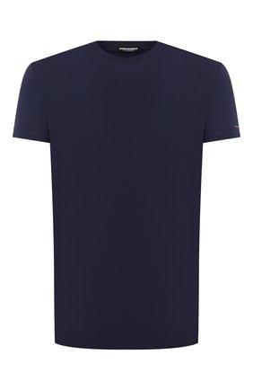 Мужская хлопковая футболка DSQUARED2 темно-синего цвета, арт. D9M203180 | Фото 1 (Длина (для топов): Стандартные; Рукава: Короткие; Материал внешний: Хлопок; Кросс-КТ: домашняя одежда; Мужское Кросс-КТ: Футболка-белье)