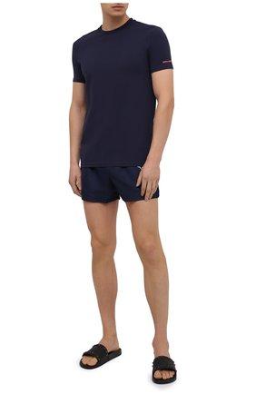Мужская хлопковая футболка DSQUARED2 темно-синего цвета, арт. D9M203180 | Фото 2 (Длина (для топов): Стандартные; Рукава: Короткие; Материал внешний: Хлопок; Кросс-КТ: домашняя одежда; Мужское Кросс-КТ: Футболка-белье)