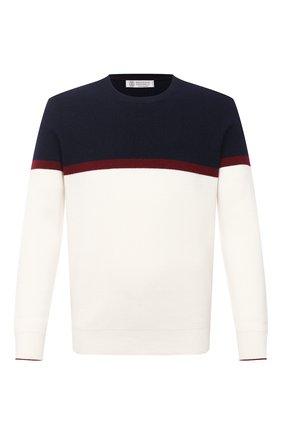 Мужской кашемировый свитер BRUNELLO CUCINELLI белого цвета, арт. M2217400 | Фото 1