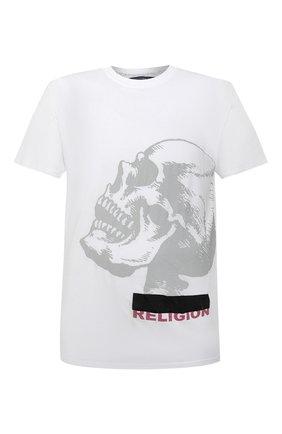 Мужская хлопковая футболка RELIGION белого цвета, арт. 30BGNN96   Фото 1 (Рукава: Короткие; Материал внешний: Хлопок; Длина (для топов): Стандартные; Стили: Панк; Мужское Кросс-КТ: Футболка-одежда; Принт: С принтом)
