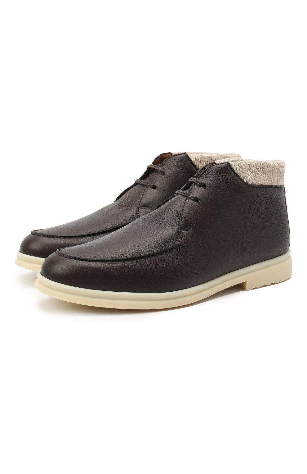 Мужские кожаные ботинки walk and walk wintery LORO PIANA темно-коричневого цвета, арт. FAL4244   Фото 1