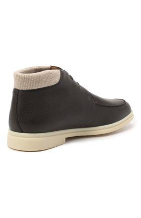Мужские кожаные ботинки walk and walk wintery LORO PIANA темно-коричневого цвета, арт. FAL4244   Фото 4