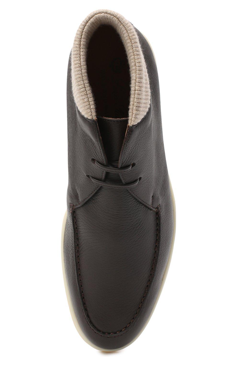 Мужские кожаные ботинки walk and walk wintery LORO PIANA темно-коричневого цвета, арт. FAL4244   Фото 5