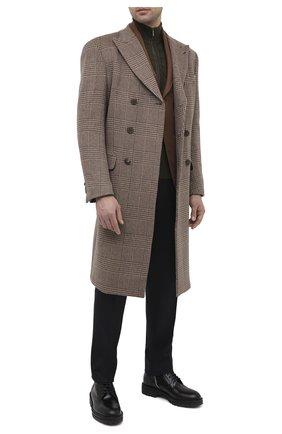 Мужской кашемировое пальто GIORGIO ARMANI коричневого цвета, арт. 0WG0L05Q/T01ZU   Фото 2 (Материал подклада: Синтетический материал; Материал внешний: Шерсть; Длина (верхняя одежда): До колена; Рукава: Длинные; Стили: Кэжуэл; Мужское Кросс-КТ: пальто-верхняя одежда)