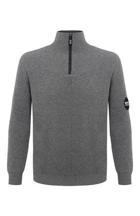 Мужской свитер из шерсти и кашемира GIORGIO ARMANI серого цвета, арт. 6HSMG1/SM77Z   Фото 1