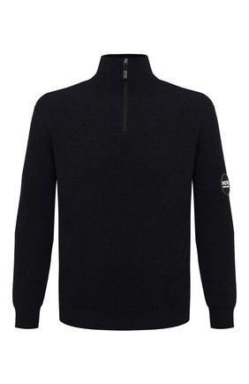 Мужской свитер из шерсти и кашемира GIORGIO ARMANI черного цвета, арт. 6HSMG1/SM77Z   Фото 1