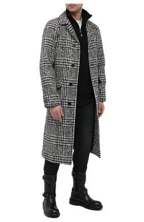 Мужской шерстяное пальто DOLCE & GABBANA черно-белого цвета, арт. G020XT/FQMIF   Фото 2