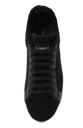 Мужские комбинированные кеды portofino DOLCE & GABBANA черного цвета, арт. CS1831/AW863   Фото 5