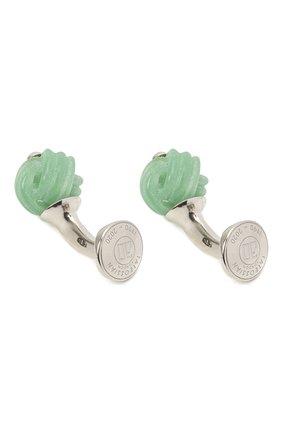 Мужские серебряные запонки TATEOSSIAN зеленого цвета, арт. CF0324 | Фото 2