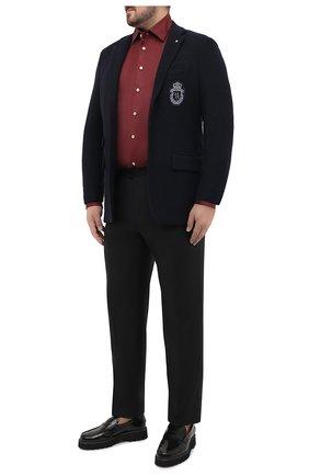 Мужская хлопковая рубашка KITON бордового цвета, арт. UMCNERH0740904/45-50   Фото 2