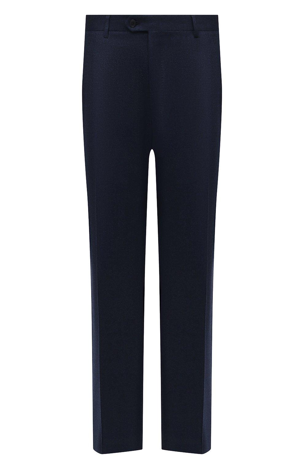 Мужские шерстяные брюки BRIONI синего цвета, арт. RPL20R/07AB4/M0ENA | Фото 1 (Big sizes: Big Sizes; Материал внешний: Шерсть; Длина (брюки, джинсы): Стандартные; Стили: Классический; Случай: Формальный; Материал подклада: Купро)