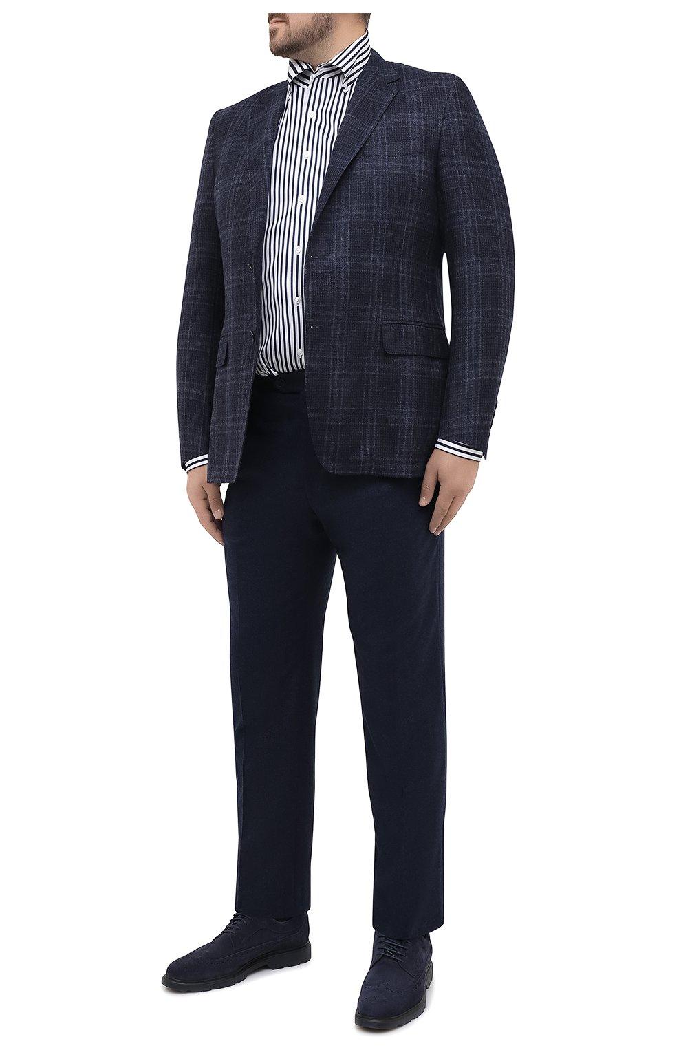 Мужские шерстяные брюки BRIONI синего цвета, арт. RPL20R/07AB4/M0ENA | Фото 2 (Big sizes: Big Sizes; Материал внешний: Шерсть; Длина (брюки, джинсы): Стандартные; Стили: Классический; Случай: Формальный; Материал подклада: Купро)