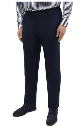 Мужские шерстяные брюки BRIONI синего цвета, арт. RPL20R/07AB4/M0ENA | Фото 3 (Big sizes: Big Sizes; Материал внешний: Шерсть; Длина (брюки, джинсы): Стандартные; Стили: Классический; Случай: Формальный; Материал подклада: Купро)