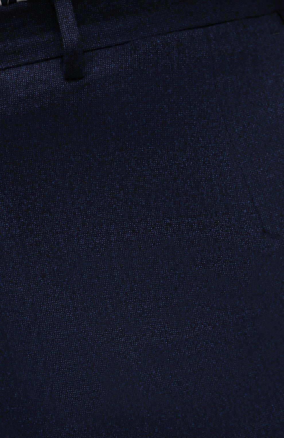 Мужские шерстяные брюки BRIONI синего цвета, арт. RPL20R/07AB4/M0ENA | Фото 5 (Big sizes: Big Sizes; Материал внешний: Шерсть; Длина (брюки, джинсы): Стандартные; Стили: Классический; Случай: Формальный; Материал подклада: Купро)
