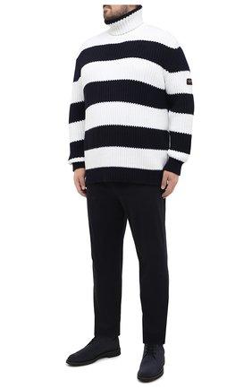Мужской хлопковые брюки HILTL темно-синего цвета, арт. 72481/60-70 | Фото 2
