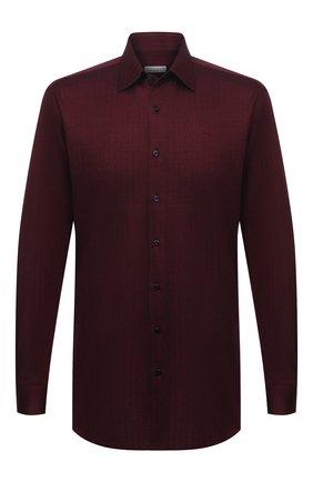 Мужская хлопковая рубашка ZILLI красного цвета, арт. MFU-64034-0001/0011   Фото 1 (Длина (для топов): Стандартные; Материал внешний: Хлопок; Рукава: Длинные; Мужское Кросс-КТ: Рубашка-одежда; Случай: Повседневный; Принт: Однотонные; Рубашки М: Regular Fit; Стили: Классический; Манжеты: На пуговицах; Воротник: Кент)