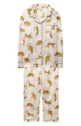 Детская шелковая пижама LITTLE YOLKE бежевого цвета, арт. SS21-12S-PL-I/5-12Y | Фото 1