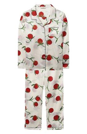 Детская шелковая пижама LITTLE YOLKE белого цвета, арт. SS21-12S-0P-PER/5-12Y | Фото 1