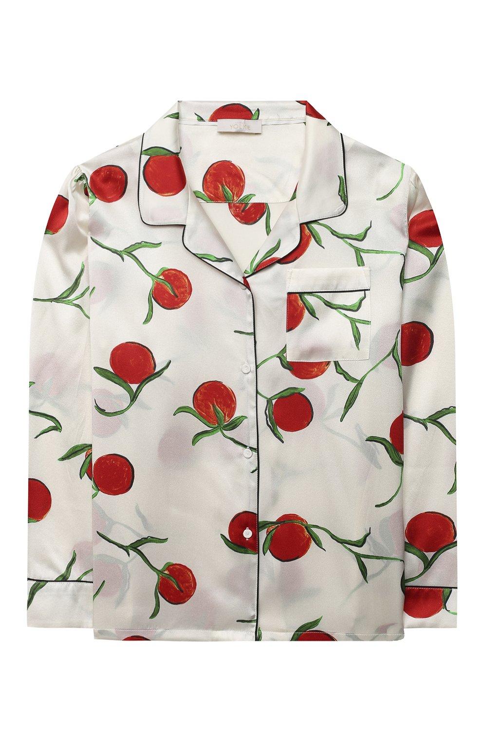 Детская шелковая пижама LITTLE YOLKE белого цвета, арт. SS21-12S-0P-PER/5-12Y | Фото 2
