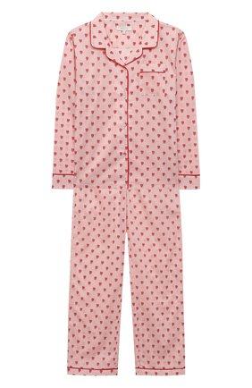 Детская хлопковая пижама LITTLE YOLKE розового цвета, арт. SS21-12C-QH-GF/9-12Y | Фото 1
