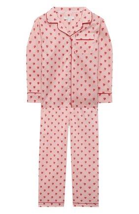 Детская хлопковая пижама LITTLE YOLKE розового цвета, арт. SS21-12C-QH-GF/1-8Y | Фото 1