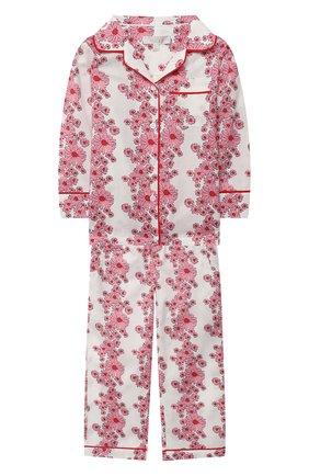 Детская хлопковая пижама LITTLE YOLKE розового цвета, арт. SS21-12C-BL-LY/1-8Y | Фото 1