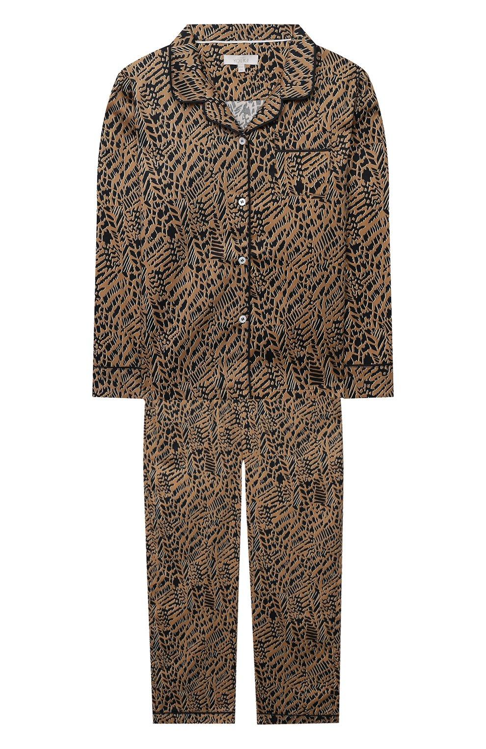 Детская хлопковая пижама LITTLE YOLKE леопардового цвета, арт. SS21-12C-AN-DI/9-12Y | Фото 1