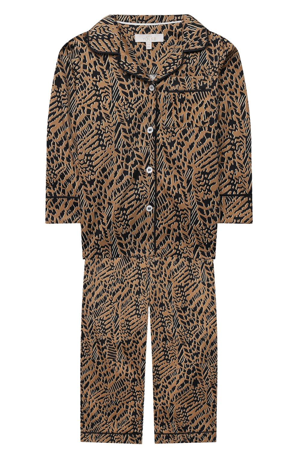 Детская хлопковая пижама LITTLE YOLKE леопардового цвета, арт. SS21-12C-AN-DI/1-8Y | Фото 1