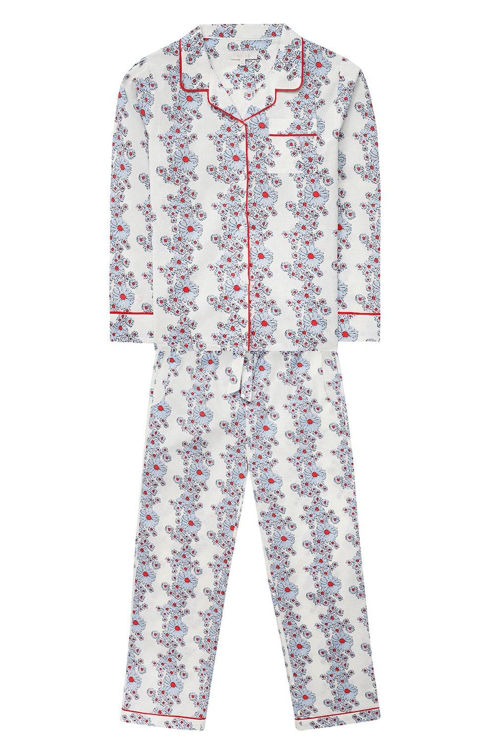 Детская хлопковая пижама LITTLE YOLKE голубого цвета, арт. SS21-12C-BL-CP/9-12Y   Фото 1