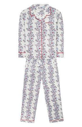 Детская хлопковая пижама LITTLE YOLKE голубого цвета, арт. SS21-12C-BL-CP/9-12Y | Фото 1