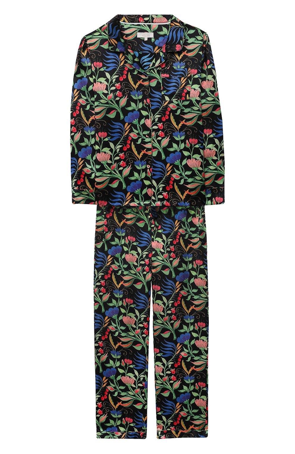 Детская шелковая пижама LITTLE YOLKE черного цвета, арт. SS21-12S-WF-B/5-12Y   Фото 1