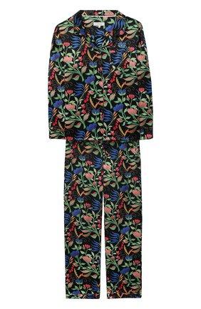 Детская шелковая пижама LITTLE YOLKE черного цвета, арт. SS21-12S-WF-B/5-12Y | Фото 1