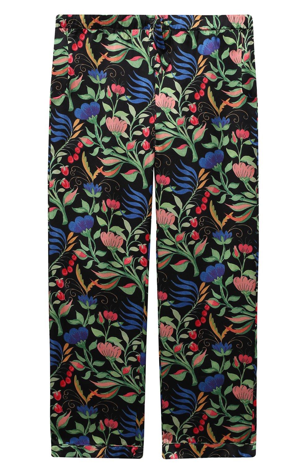 Детская шелковая пижама LITTLE YOLKE черного цвета, арт. SS21-12S-WF-B/5-12Y   Фото 4