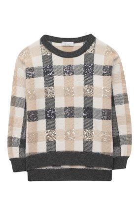Детский пуловер из шерсти и кашемира BRUNELLO CUCINELLI бежевого цвета, арт. B16M15310C | Фото 1